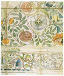William Morris embroidery drawing