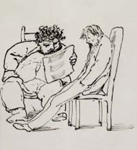 William Morris reading poetry to Ned Jones