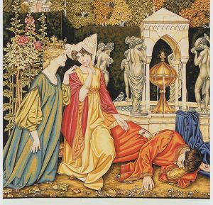 The Letter tapestry from a Pre-Raphaelite painting
