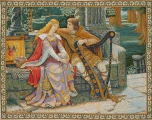 Tristan and Isolde tapestry from the painting by Lord Leighton