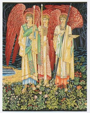Vision of the Holy Grail tapestry, angels - by Edward Burne-Jones