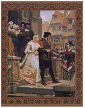 Call to Arms tapestry with border by Edmund Blair Leighton