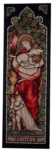 Charity tapestry from a stained glass window by John Henry Dearle