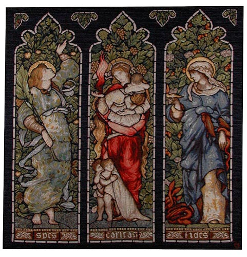 Faith, Hope, Charity tapestry from a stained glass window by John Henry Dearle, Morris & Co