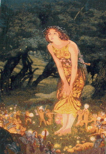 Midsummer's Eve tapestry from a Pre-Raphaelite painting by Edward Robert Hughes