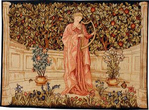 Minstrel tapestry designed by Morris and Co, an Arts & Crafts tapestry