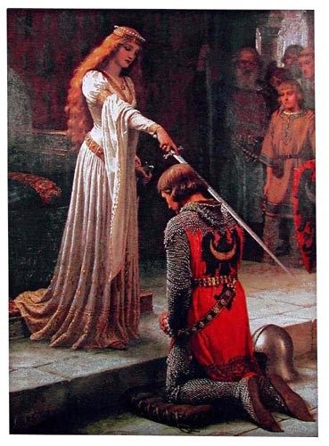 The Accolade, no border tapestry from the painting by Edmund Blair Leighton