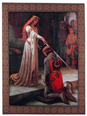 The Accolade tapestry by Edmund Blair Leighton