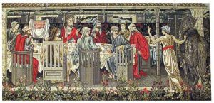 Knights of the Round Table Summoned to the Quest tapestry by the Strange Damsel - Burne-Jones Quest for the Holy Grail tapestries
