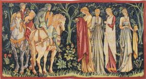Departure of the Knights tapestry - Edward Burne-Jones San Graal tapestries