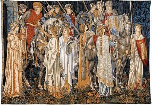 The Arming and Departure of the Knights tapestry by Sir Edward Burne-Jones