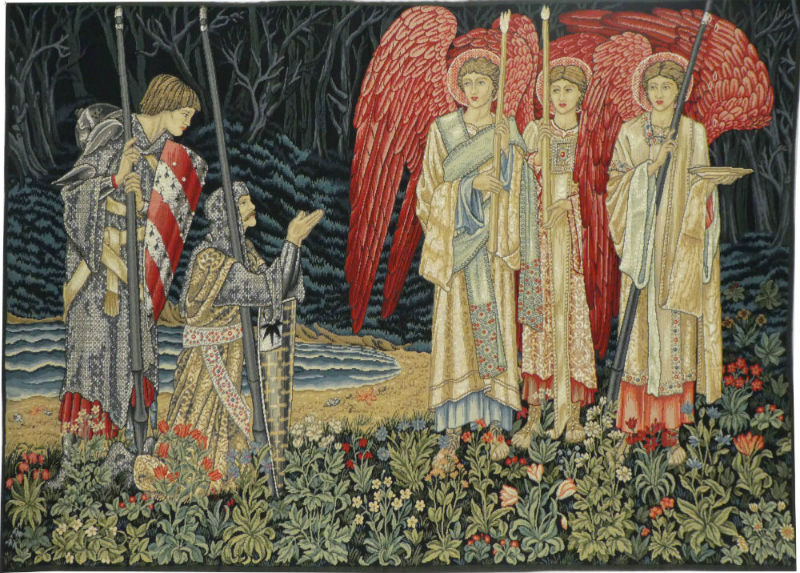 Vision of the Holy Grail tapestry, left - wall-hanging