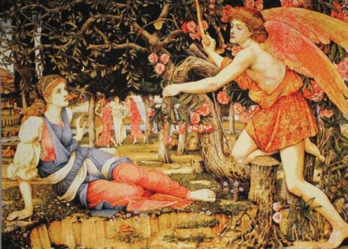 Stanhope's Love and the Maiden tapestry - Pre-Raphaelite tapestries