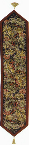 William Morris table runner, burgundy woven in France from Arts and Crafts Tapestries