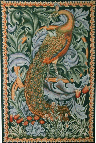 The Peacock tapestry wallhanging from The Forest tapestry by Morris & Co - William Morris tapestries