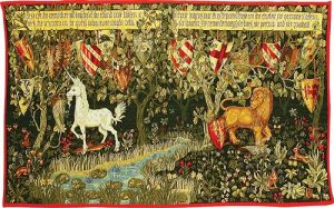 The Quest for the Holy Grail tapestry is adapted from Verdure with Deer and Shields showing a lion and unicorn