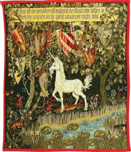 The Quest - Unicorn tapestry from the Verdure with Deer and Shields tapestry