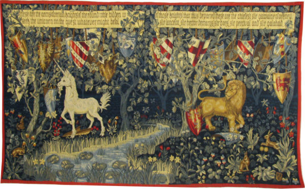 Quest for the Holy Grail - Arts and Crafts wall tapestry