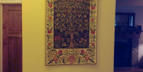 Tree of Life tapestry in brown and beige earthy ones woven in Belgium