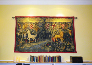 Quest for the Holy Grail tapestry displayed in an apartment