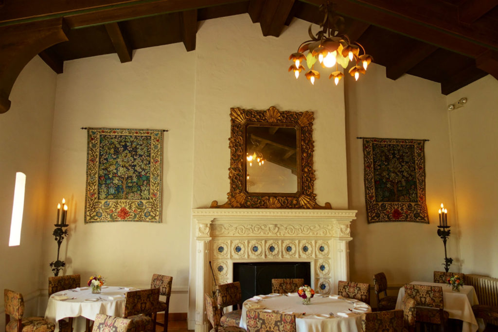 Two William Morris Tree of Life tapestries in one wonderful restaurant! This ever-popular Arts and Crafts tapestry is woven in France