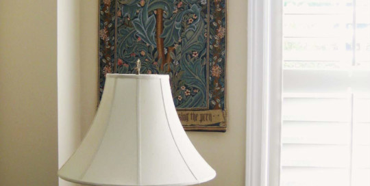 The Woodpecker tapestry wall-hanging is shown here in the same room as the Pomona and Flora tapestries. Delightful!