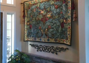 Acanthus and Vine tapestry by William Morris in the entrance foyer of a home