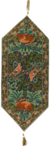 Birds and Rabbits table runner - Woodpecker, Strawberry Thief tapestries