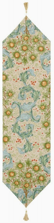 Orange Tree with Acanthus Leaves table runner - Arts and Crafts style